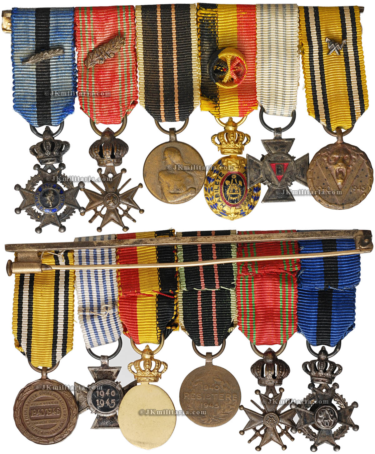 order medal decoration Belgium WW2 Miniature bar comprising: Order of Leopold II Knight with silver 'L'