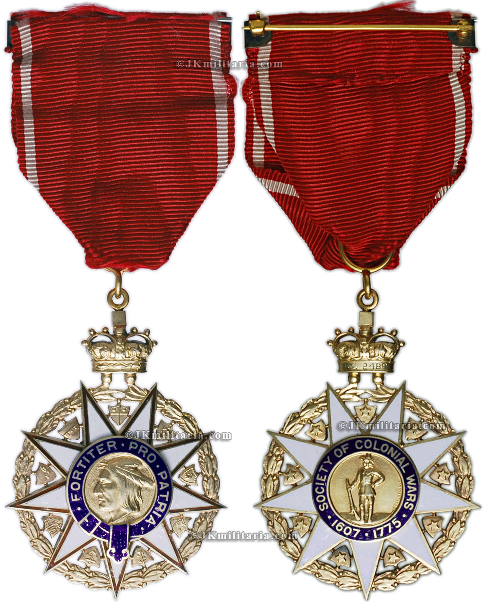 order medal decoration Order - Society of Colonial Wars 1607-1775 - Fortier Pro Patria - breast  badge